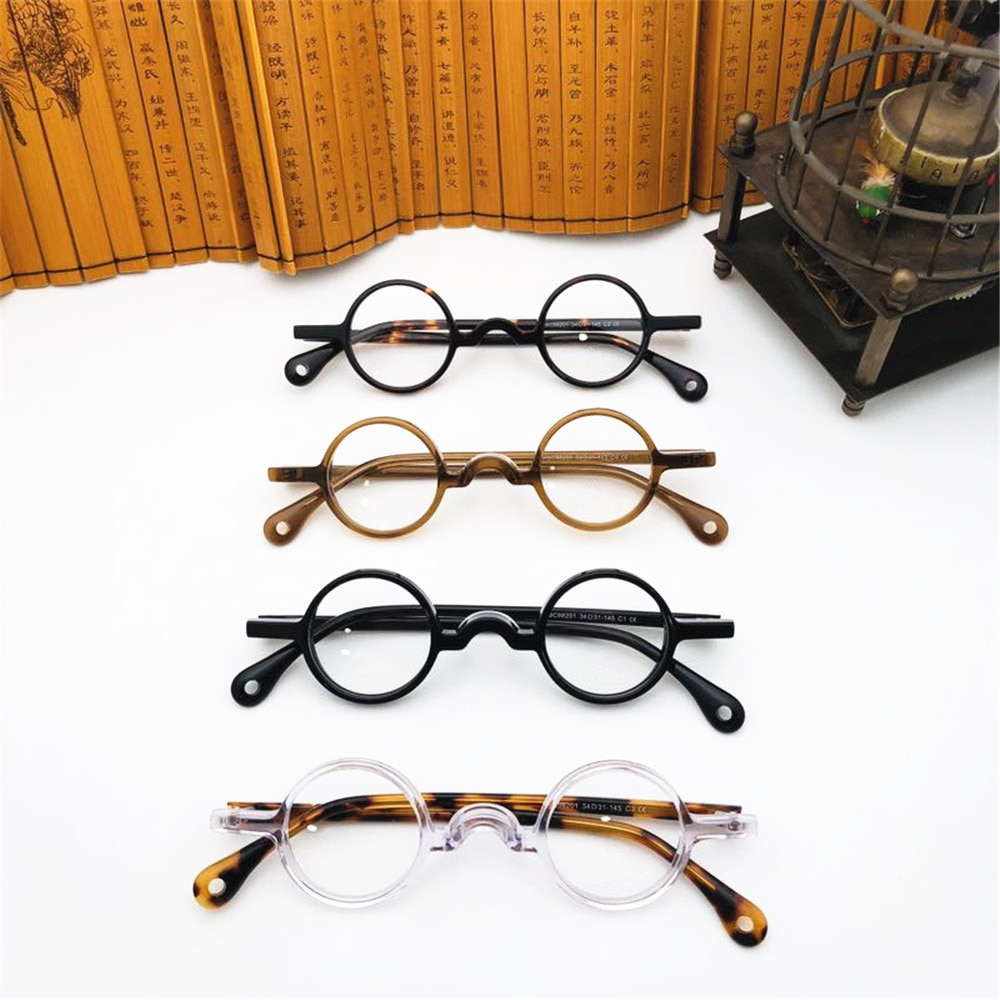 BETSION-lunettes Vintage, petites et rondes, 34 mmeyue, en acétate, bord complet, fait à la main, pour hommes et femmes, Prescription optique, 2020