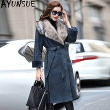 AYUNSUE hiver manteau femmes Double face réel manteau de fourrure femme de luxe naturel laine fourrure manteaux vison col de fourrure véritable veste en cuir mon