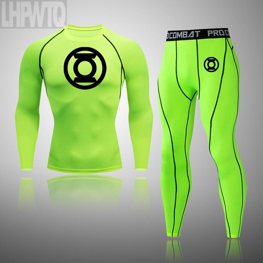 Invierno cálido ropa interior conjunto Linterna Verde de los hombres ropa interior térmica hombres térmica larga johns Batman de compresión Conjunto de Jogging