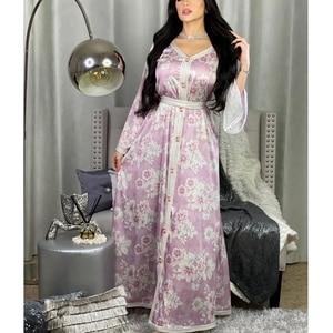 Mandylandy Arab Muslim Islamic Clothing Turkey Robe Middle East Women Muslim Dress Dubai Printed Floral Lace Long Abaya Dress