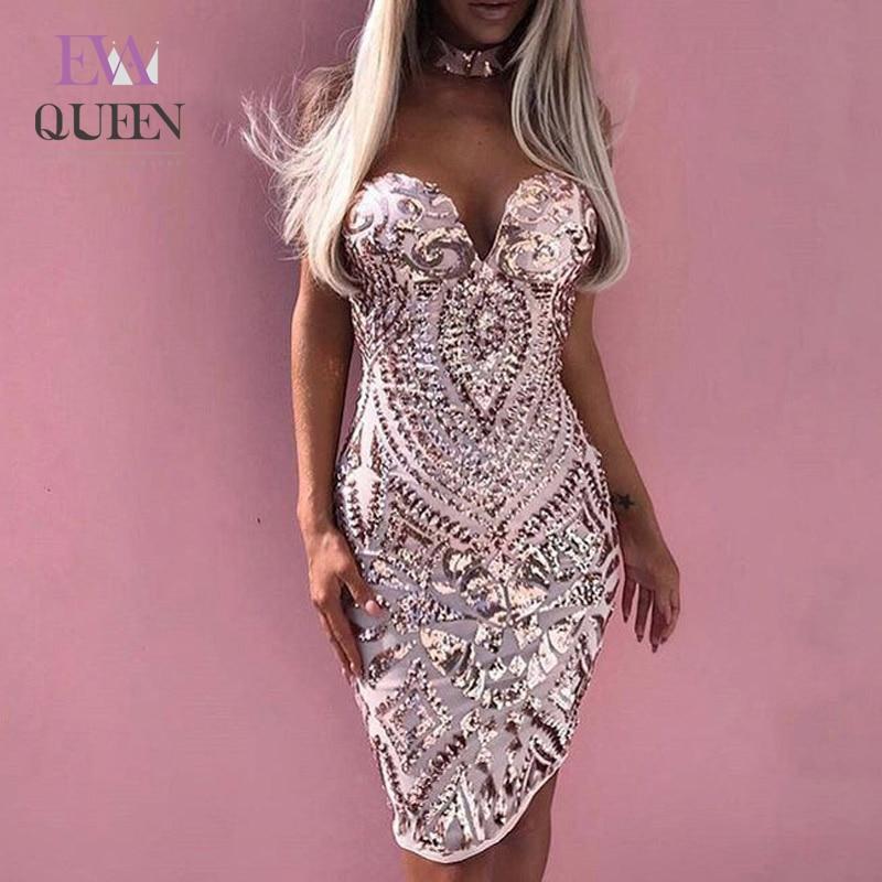 Vestido elegante de verano EvaQueen, vestido de fiesta blanco ajustado Sexy para mujer con cuello en V, Mini vestido de lentejuelas, Vestidos 2019