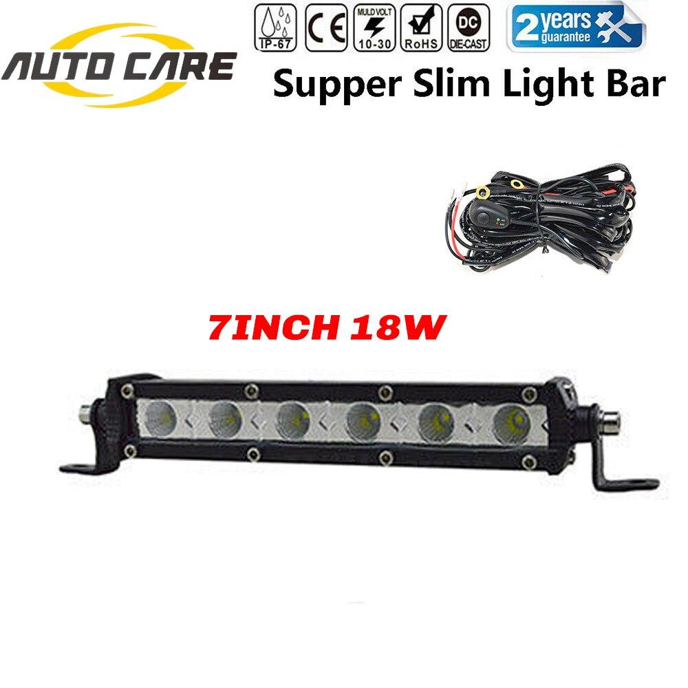 7 pouces simple rangée mince LED travail barre lumineuse voiture hors route SUV 4WD