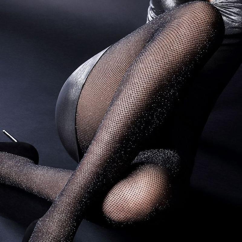 Medias de malla para mujer, color dorado y plateado, medias sexis de red con gancho, Medias brillantes para mujer, pantimedias brillantes de alta calidad