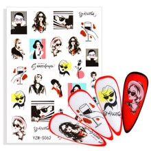 3D Sexy Lady Pattern Self-adhesive Nail Stickers Cool Grils With Sunglasses Image Decal With Back Ad