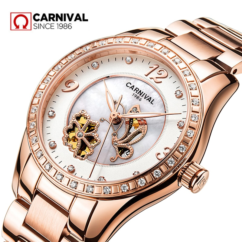 CARNIVAL New Fashion Rose Gold Automatic Mechanical Watch Women's Hollow Waterproof Stainless Steel Skeleton Watches Women 8009G