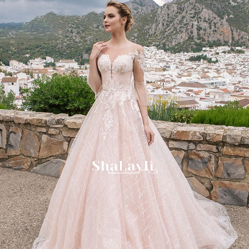 Promo Pink Wedding Dress Embroidered Lace O-Neck Ball Gowns Sleevelesswith Appliques Sashes Vestido De Noiva Plus Size Button