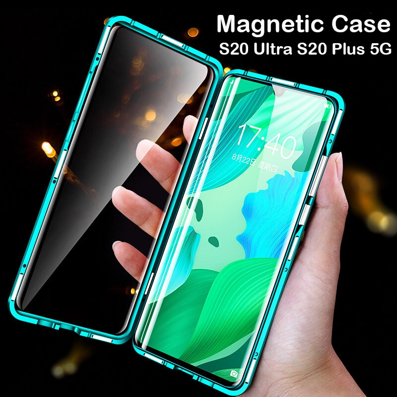 360 Full Magnetic Case For Samsung Galaxy S20 Ultra Coque Note 20 S10 Glass Cover S21 Plus Bumper A80 A90 5G A21S A51 A71 Case