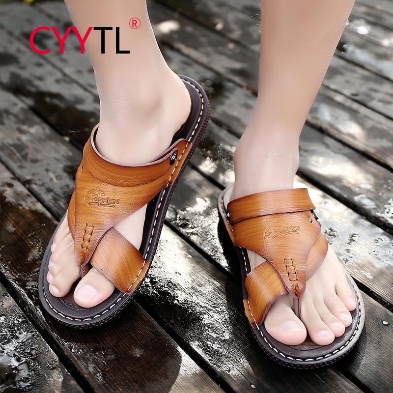 CYYTL Men's Flip Flops Sandals Summer Beach Slippers Non Slip Casual Leather Outdoor Shoes Fishermen Indoor Claquette Homme