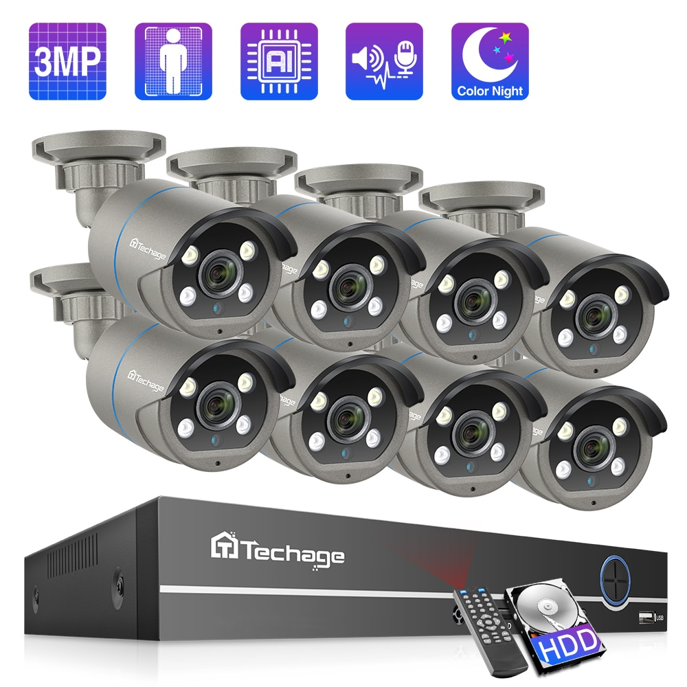 Techage 3MP POE Security Camera System Outdoor Smart AI 8CH H.265 CCTV Video Surveillance Kit Two-way Audio Full Color Night P2P