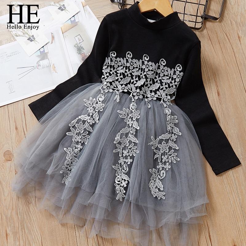 HE Hello Enjoy Girls Dress 2019 vestidos florales para niños Ropa para Niñas encaje vestido de fiesta liso tejido suéter chico vestido de princesa 3-7Y