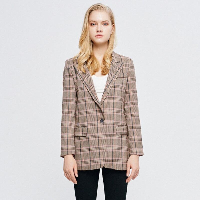Spring Autumn Plaid Single Button Long Sleeve Straight Slim Women Lady Blazer Suit