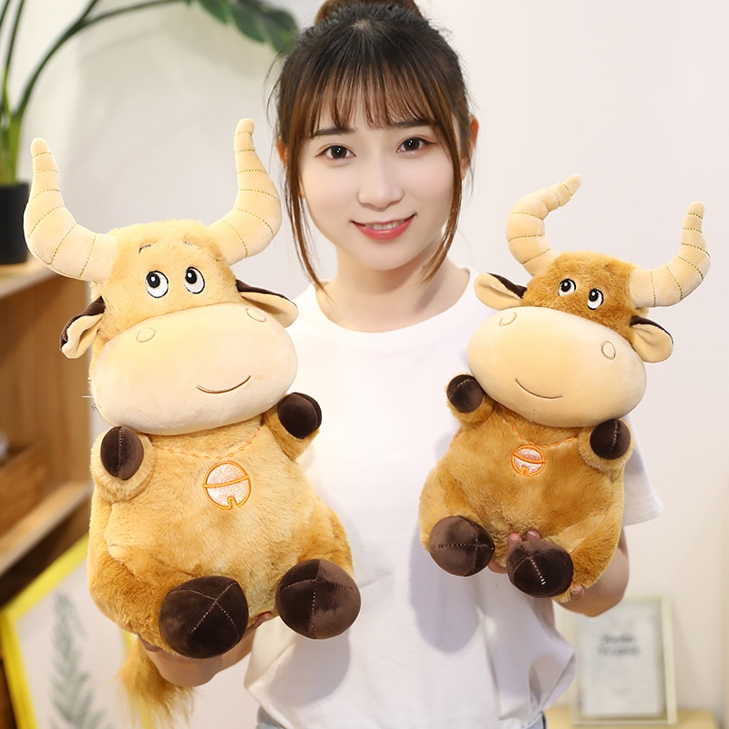 30-70cm New Cute Animal Cattle Stuffed Plush Toy Kawaii Soft Cow Pillow Doll Cartoon Zodiac Toys for Children boy Present  - buy with discount