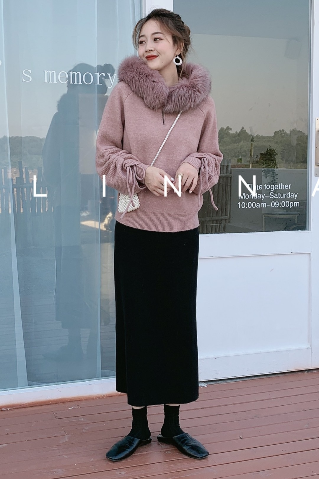 Feminino 2020 Winter Cotton Computer Knitted Solid New Sweater Women Sleeves Drawstring Loose Pullover Real Fox Collar enlarge