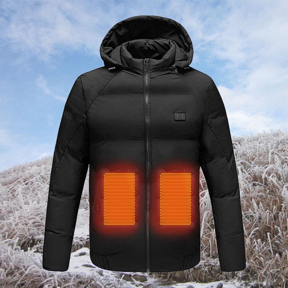Chaquetas calentadas de alta calidad, chaqueta con calefacción eléctrica USB, chaquetas con capucha de calefacción eléctrica, abrigo térmico invierno cálido para hombres