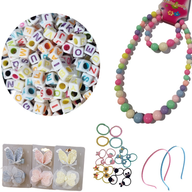 Girl Gift Bag Hair Accessories  Necklaces  Bracelets 200 Letter Beads