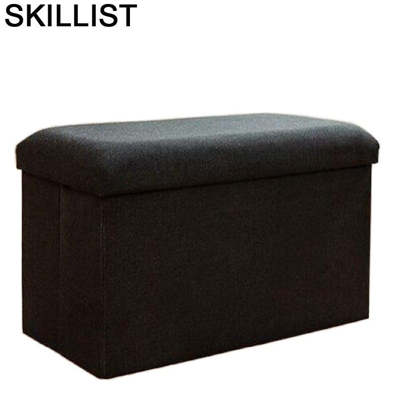 Taburete Plegable para cambio De zapatos, silla De almacenamiento tipo PUF y...