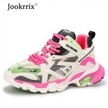 Jookrrix 2020 femmes été femme maille augmenté 5cm chaussures de sport épais femmes mode confortable compensées chaussures à semelle épaisse ZD2692