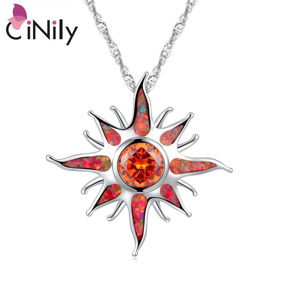 Большие Подвески cinilly Starburst с опаловым камнем, посеребренное покрытие, на солнечной энергии, оранжевая гранатовая подвеска в виде солнца, роскошные украшения для женщин и девочек