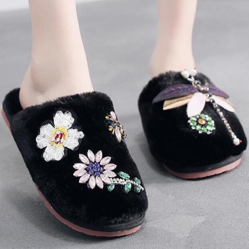 Zapatillas de casa para mujer, zapatillas planas de mujer con flores y libélulas, Zapatillas de felpa peludas y planas s993