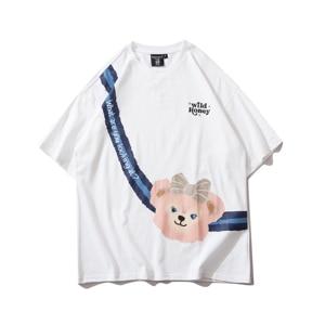 Summer T Shirt Men Cute Bear Print Oversized T-shirts Casual Loose Cotton Short Sleeve Tops Tees Hip Hop Fashion Streetwear