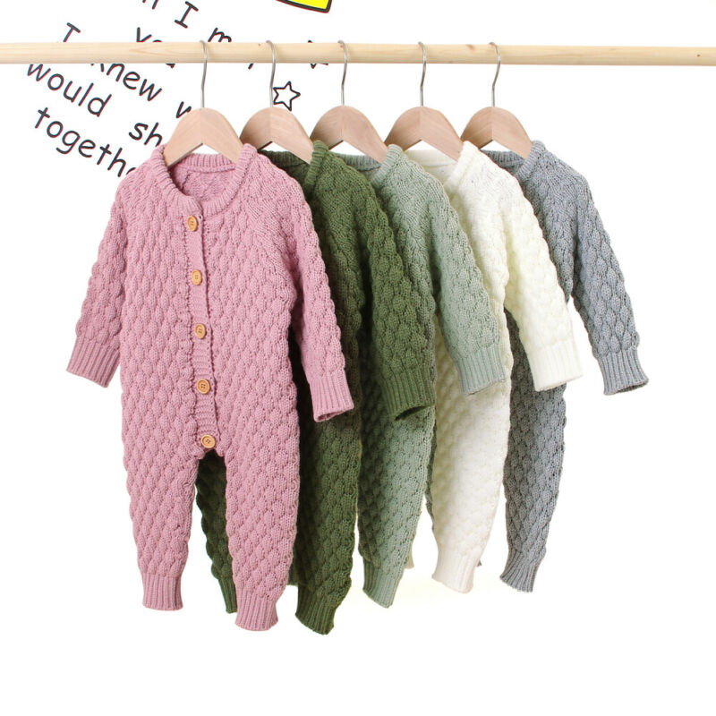 0-18M bebé chico bebé niña mameluco ropa de Otoño de punto vendido manga larga mameluco traje de suéter