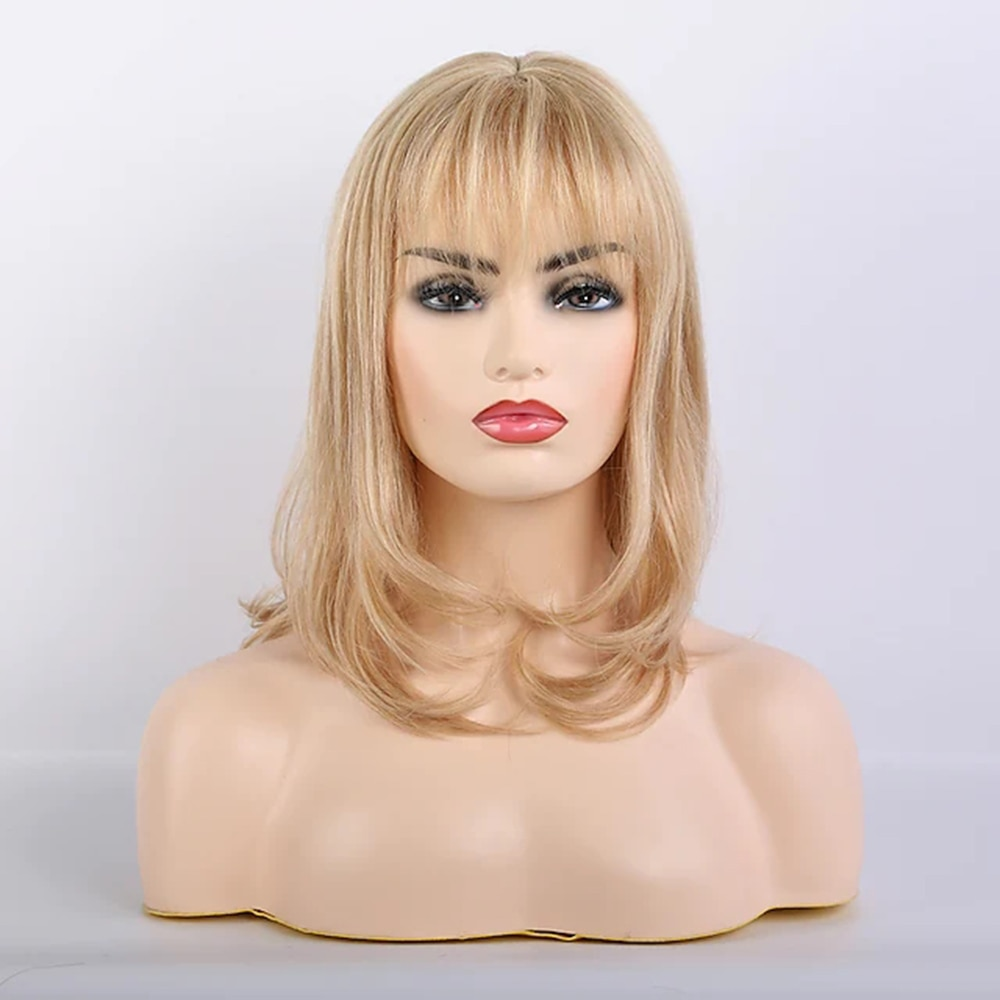 layered tail adduction long oblique bang siv human hair wig Blonde Remy Human Hair Blend Wig Long Curly Body Wave Layered Haircut Neat Bang With Bangs Blonde Women Natural costume wigs