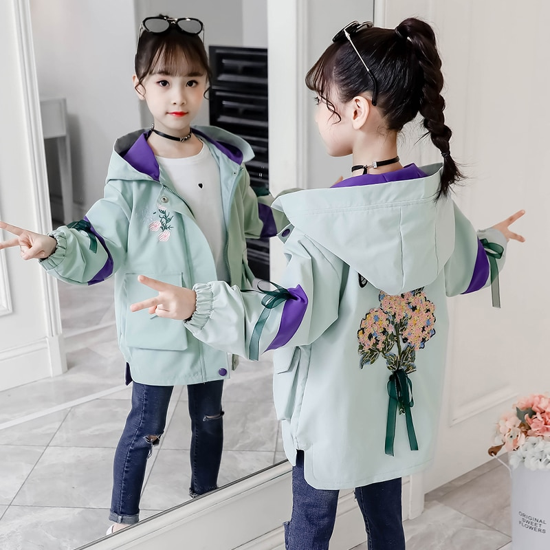 Teenage Girls Winter Windbreaker Jacket Spring Autumn Embroidered Hooded Outerwear Girls Clothes Children's Trench Coat Clothing 2020 autumn winter waterproof windbreaker girls jacket for child hooded star polar fleece girls outerwear coat 3 12t kids jacket