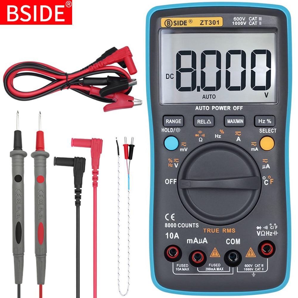 BSIDE Цифровой мультиметр BSIDE ZT301 302 True- DC/DA Вольтметр Амперметр Multimetro шапка сопротивление Гц тестер температуры