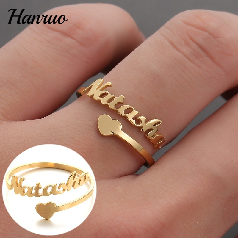Custom Name Ring Personalized Nameplate Rings Stainless steel Gold Silver Color Ring For Women Men Couple Gifts Fashion Jewelry custom name high quality stainless steel wholesale simple ring fashion gold rings jewelry for women s exclusive wedding ring