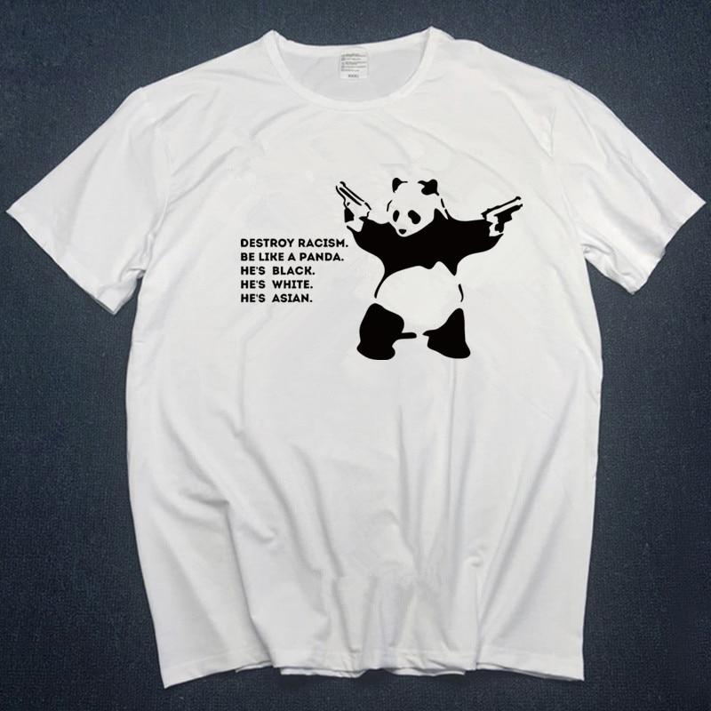 2020 футболки Летние футболки Harajuku футболка с принтом панды хип-хоп 100% Хлопок Уличная футболка Футболки Топы Homme s-3XL