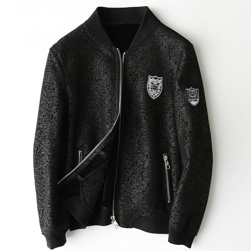 2020 chaqueta de cuero genuino para hombres forro de piel de lana Real otoño invierno abrigo de piel de oveja chaqueta de béisbol tipo aviador de talla grande 7588