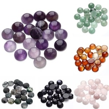 20 pièces/lot 6/8/10/12mm améthystes violettes perles en pierre naturelle rondes perles en vrac Cabochon camée Fit pendentifs Bsase plateau pour bijoux