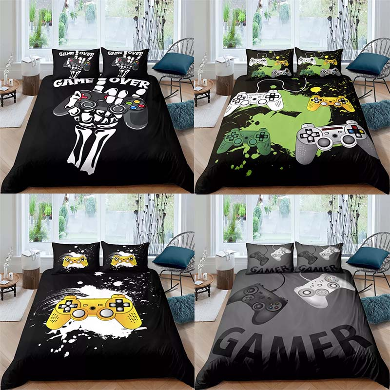 Home Textiles Bedding Set Gamer Life Pattern Printed Duvet Cover Set With Pillowcase Queen King Full Size 3D Gamepad black
