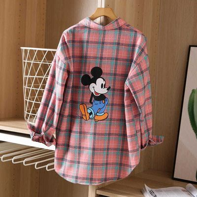 Disney Spring 2020 new simple lady plaid shirt back retro printing Mickey mouse plaid shirt female blouse