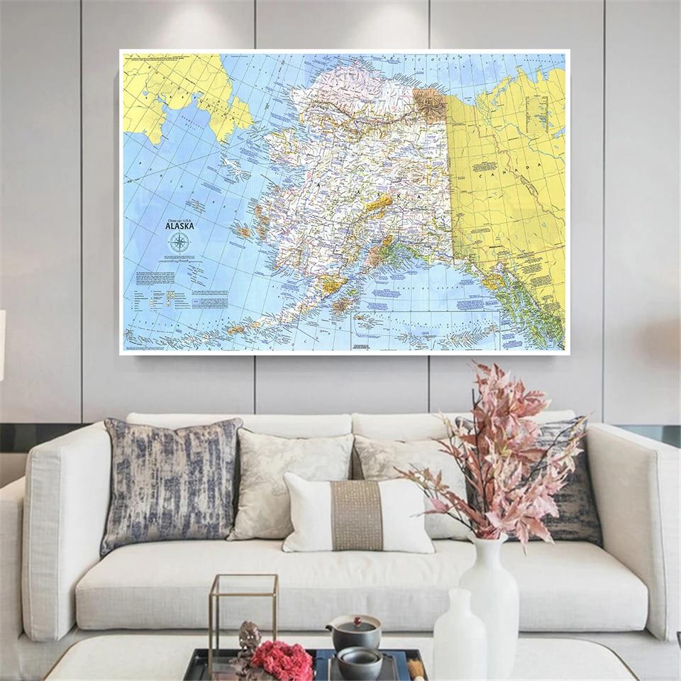 150*100 см 1975 карта Аляски ВИНТАЖНЫЙ ПЛАКАТ нетканый Холст Картина культура образование школьные принадлежности украшение для дома