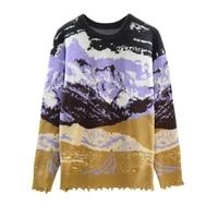 sale promotion women jacquard knit sweater dropped shoulder oversize pullover snow mountain landscape sweater