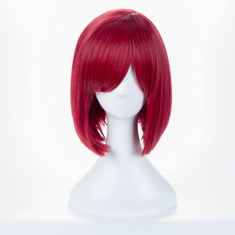 Danganronpa v3 matando harmonia yumeno himiko wine franja bob anime peruca de cabelo cosplay 35cm + boné peruca