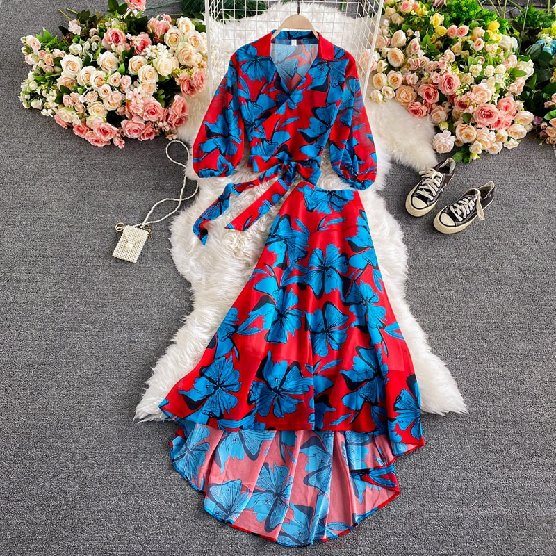 Bohemian Floral Printed Chiffon Two Piece Set Women Spring Autumn Sexy V-Neck Puff Sleeve Short Tops + Irregular Long Skirt Suit