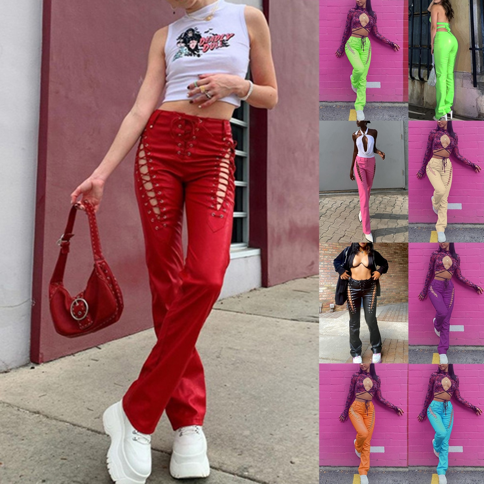 Женские облегающие прямые повседневные брюки, модные однотонные кожаные брюки с завышенной талией диваны кожаные прямые трехместные раскладные