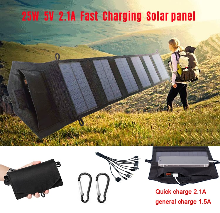 25W Foldable USB Solar Panel Solar Cell Portable Folding Waterproof Solar Panel folded Outdoor Mobile Power Battery Charger
