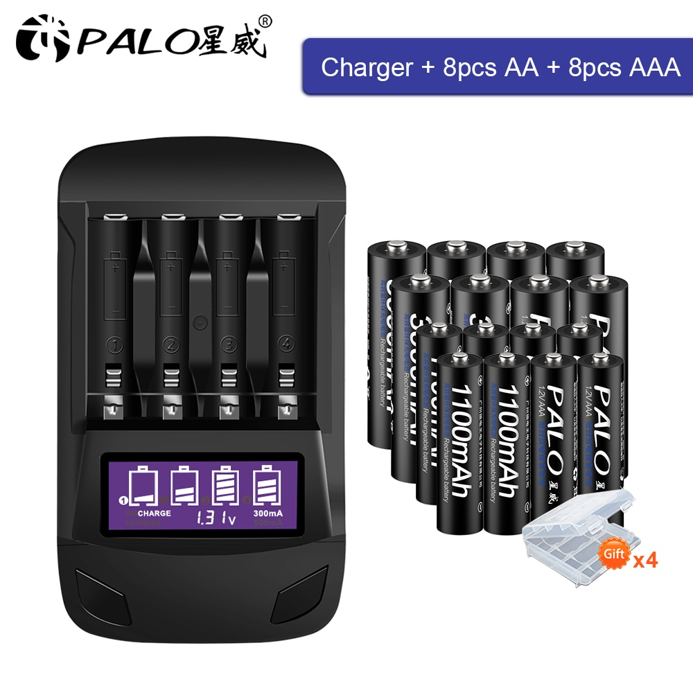 PALO 1,2 В AA Аккумуляторная батарея aa + AAA аккумуляторная батарея aaa 1,2 В Ni-MH батарея + умное зарядное устройство AA AAA зарядное устройство