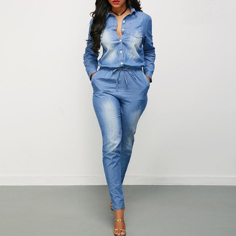 Outono inverno moda feminina manga longa denim playsuit cintura alta bolsos jean macacão casual solto geral streetwear