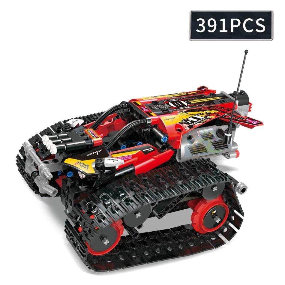 391pcs APP Remote Control Crawler Drive Car Building Block Technic RC Tracked Truck Motor Power Brick Toys For Children