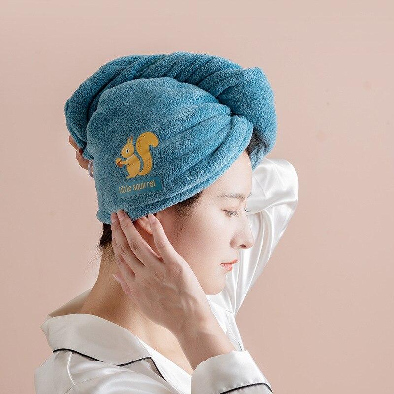 Mädchen der Haar Trocknen Hut Quick Dry Haar Handtuch Mikrofaser Solid Handtuch Super Absorption Turban Haar Trocken Kappe Cartoon bad Handtuch Haar-Handtücher    -