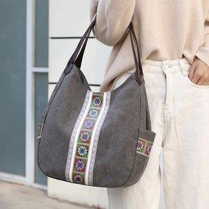 Canvas Printing Hand Bags for Women Casual Large Hobo Shoulder Tote Handbags Female Portable Cloth Pocket Zipper Big Shopper Bag