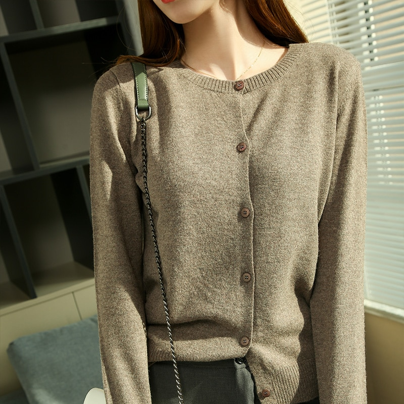 2021 New Style Oneck Jumpers for Lady 100%  Wool Knitting Jackets Woman Hot Sale Long Sleeve Cardigans Standard Clothes enlarge