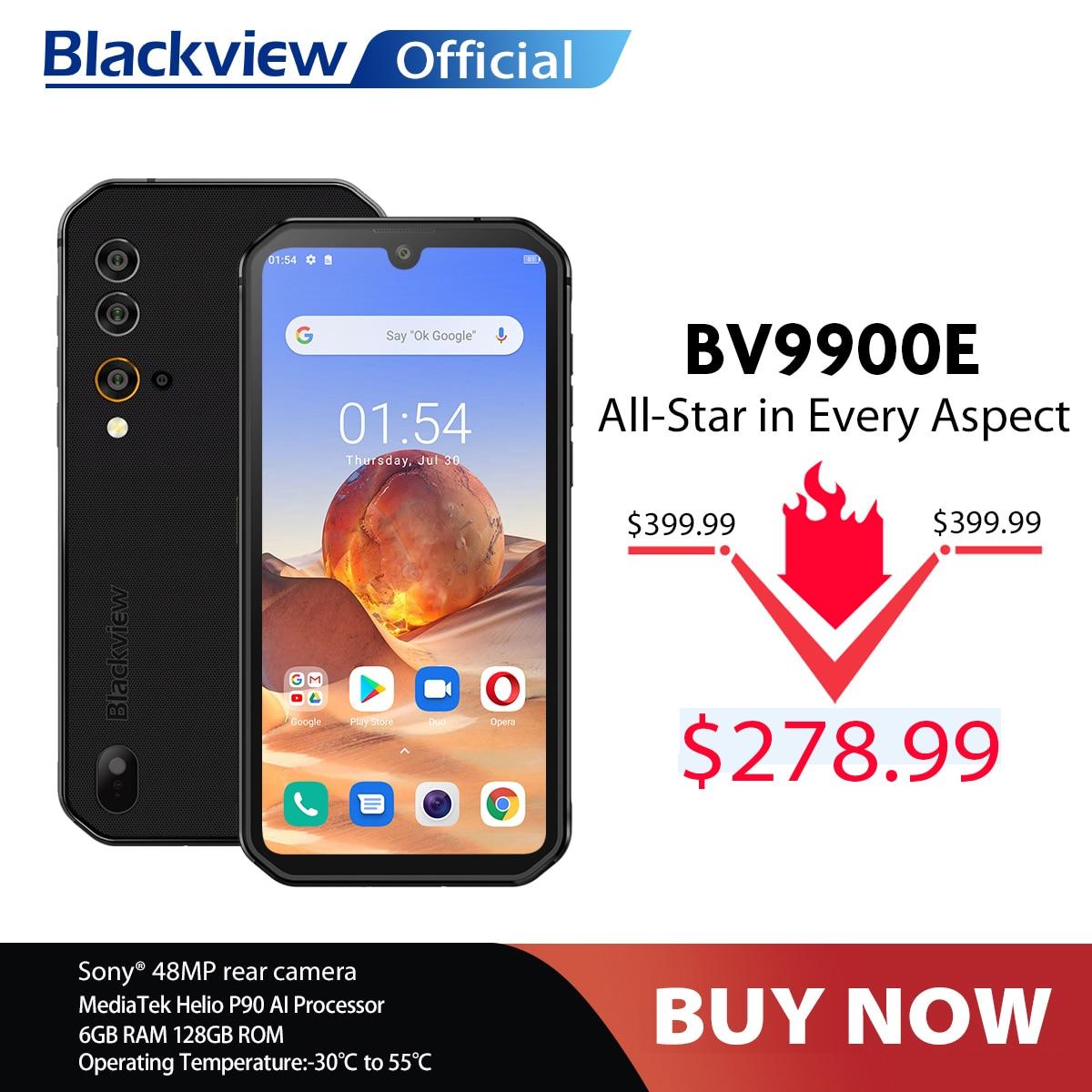 Перейти на Алиэкспресс и купить Blackview BV9900E Helio P90 прочный смартфон 6 ГБ + 128 Гб IP68 Водонепроницаемый 4380 мАч 48MP камера NFC Android 10 мобильный телефон