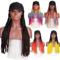 dianqi synthetic baseball cap wig with braid wigs for afro black women daily wear black hat long wig adjustable