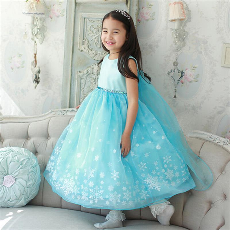 Robe Elsa pour filles sans manches princesse Costume flocon de neige impression robe Anna Elsa Vestidos enfants Halloween Cosplay Costume