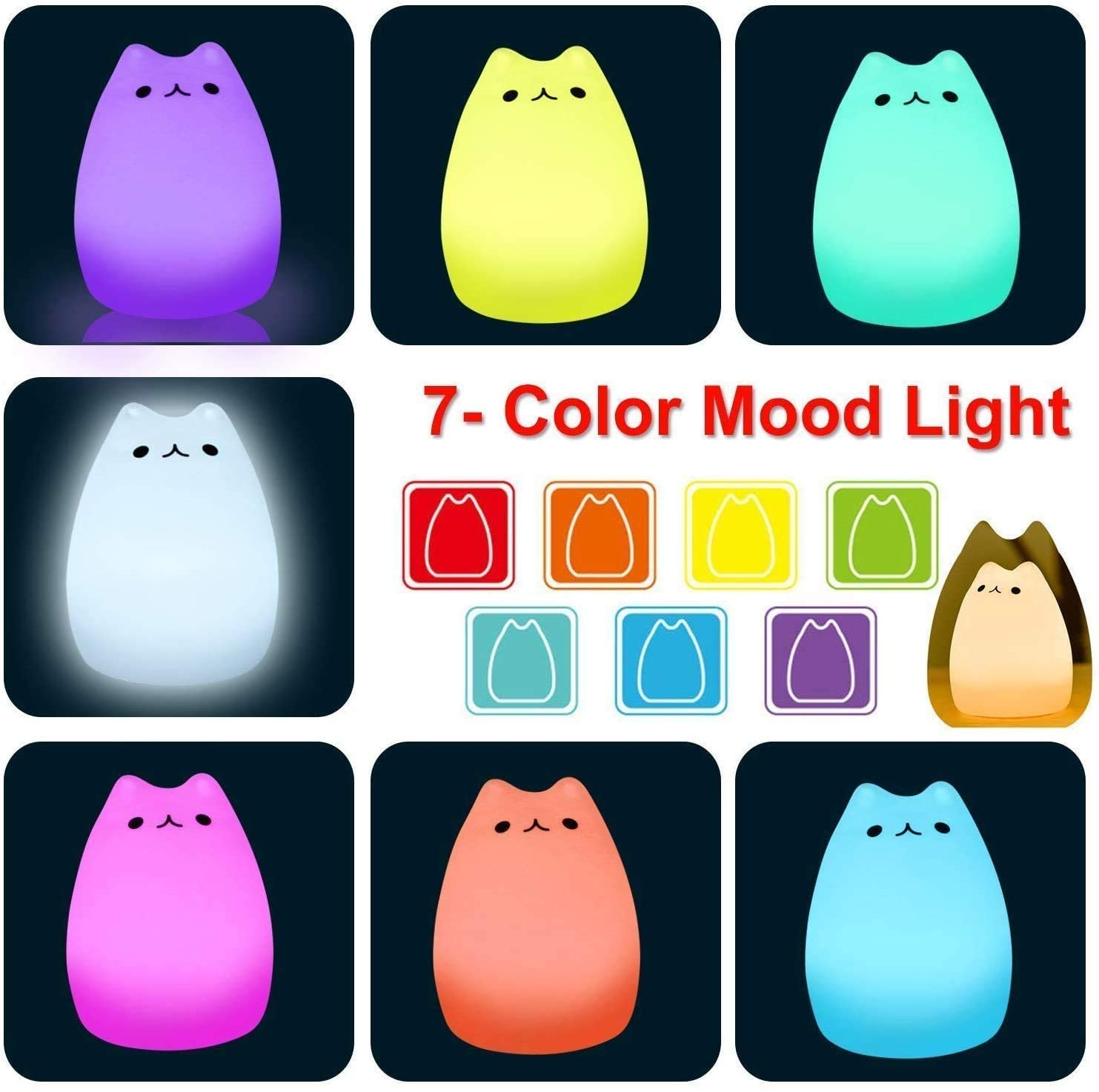 LED Night Light Cute 7 Colors Soft Silicone Cartoon Cat For Baby Kids Sleepping Bedroom Dimmable Decoration Gift Retail Package